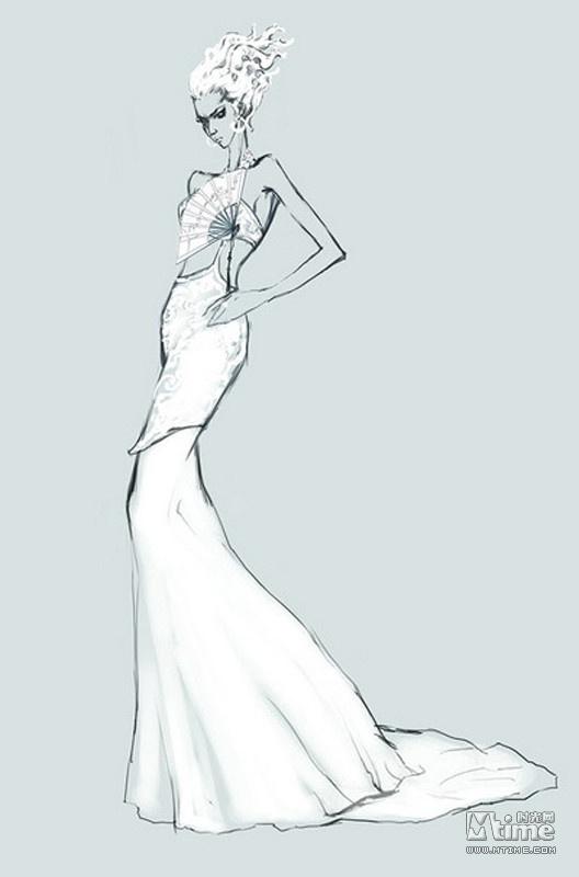 服装头部手绘图