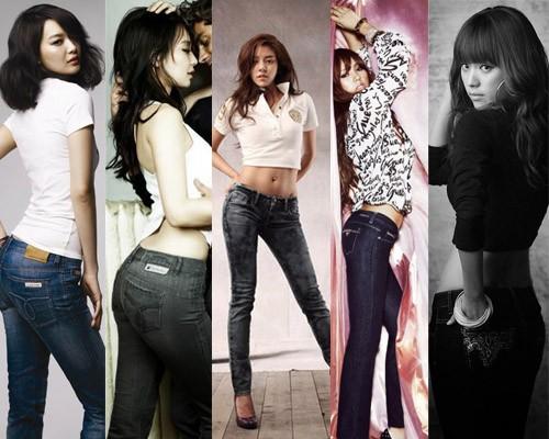 韩国身材最好的女星女明星翘臀韩国牛仔裤紧臀美女