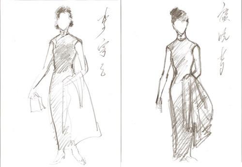 手绘旗袍黑白图片