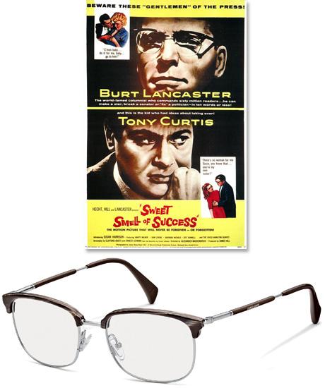armani的塑料半边框眼镜让人联想起《成功的美妙滋味