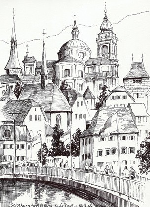 速写欧式城堡图片