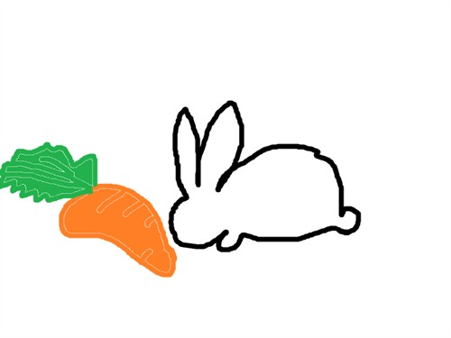 先在纸上用铅笔画出小兔子的草图
