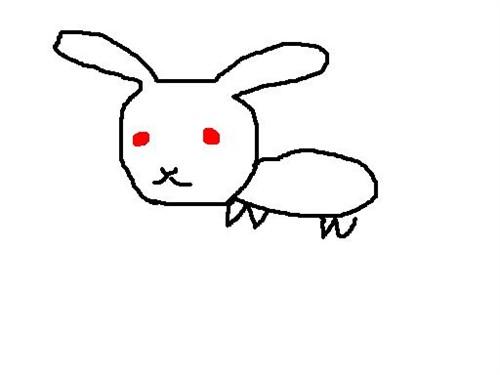 小兔子简笔画:小兔子采蘑菇