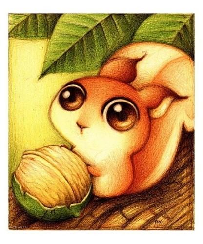 除了萌萌大眼小动物外,fabo画的其他插画风格也非常清新,可爱,例如下