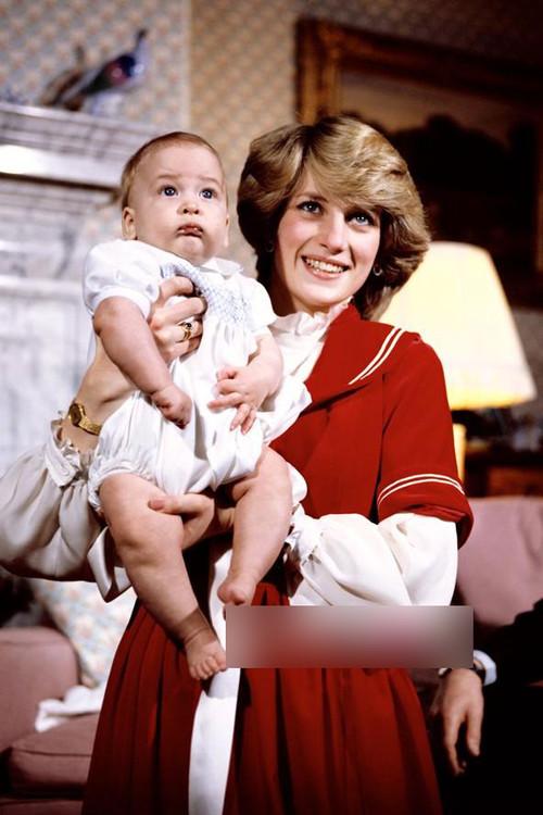 图为:威廉王子和母亲戴安娜王妃.