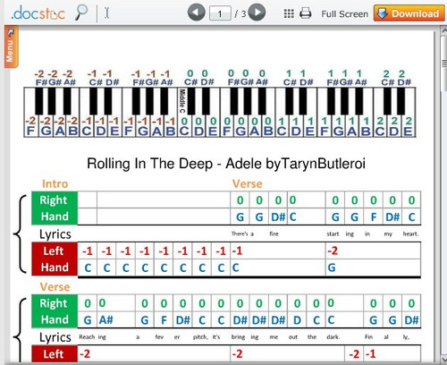 Adele的Rolling In the Deep钢琴教学版 附简谱