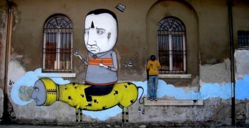 街头大型创意涂鸦作品