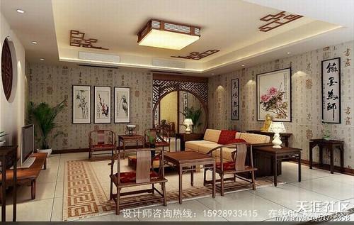 中式电视背景墙木柜