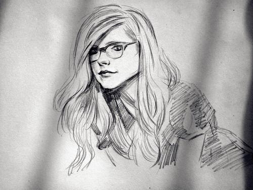 艾薇儿素描画,真漂亮啊