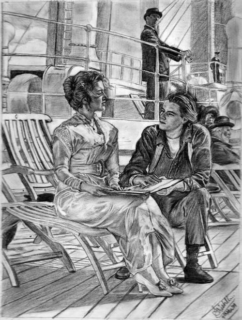 《泰坦尼克titanic》唯美素描油画,再次感受那永远不老的爱情!