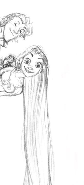 迪士尼《长发公主》rapunzel 和 flynn人设手稿|disney, glen keane