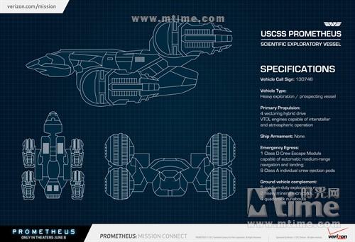 普罗米修斯号飞船剖面结构图