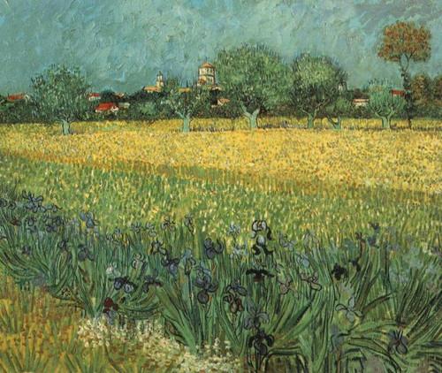《arles小城和鸢尾花的风光》,1888,梵高博物馆